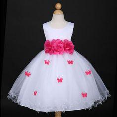 82cac6ddfea2 Φορέματα για Παρανυφάκια - Επίσημα Φορέματα για Κορίτσια :: Αμάνικο Παιδικό  ΛΕΥΚΟ Σατέν - Τούλι