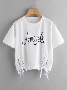 Shop Letter Print Metal Eyelet Lace Up Tee online. SheIn offers Letter Print Metal Eyelet Lace Up Tee & more to fit your fashionable needs. Cute Lazy Outfits, Crop Top Outfits, Sporty Outfits, Stylish Outfits, Girls Fashion Clothes, Teen Fashion Outfits, Outfits For Teens, Girl Outfits, Belly Shirts
