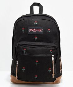 Show off your elegant sense of style with the Right Pack Expressions Embroidered Roses Backpack from JanSport. Designed a red rose embroidered canvas exterior, this backpack was designed with suede leather zipper pulls and a suede bottom panel offering a Stylish School Bags, Cute School Bags, Cute Jansport Backpacks, Girl Backpacks, Leather Backpacks, Mochila Jansport, Backpack Purse, Black Backpack, Jansport Right Pack