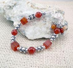Orange Bracelet  Carnelian Jewelry  Carnelian by TouchOfSilver