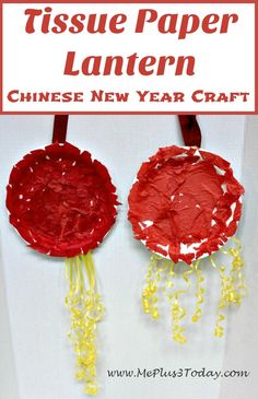 Tissue Paper Lantern, a great Chinese New Year Craft for preschoolers