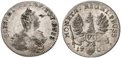 VI Groschen. Russian Coins. Russian Coinage for East Prussia. Konigsberg mint, 1761. 2,99g. Bit 736. Pearls in headdress. Choice EF. Starting price 2011: 480 USD. Unsold.