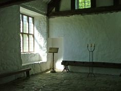 A room in a medieval stone built hall house, Penarth Fawr (Wales