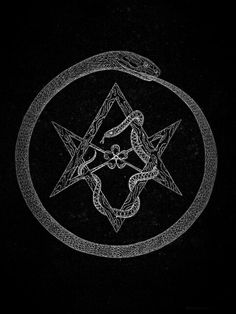 Black and White snake pentagram Ouroboros thelema severin-in-furs Occult Symbols, Occult Art, Occult Tattoo, Satanic Art, Esoteric Art, Arte Obscura, Aleister Crowley, Mystique, Arte Horror