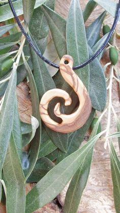 Olive Wood Maori style fish hook necklace a by ellenisworkshop, $29.00