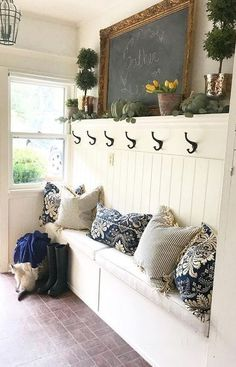 Likes, 94 Comments - Designer - Rhonda Hallstrom (HallstromHome Creating Custom Mirrors, Linen Flur Design, Built In Bench, Mudroom, Entryway Decor, Kitchen Entryway Ideas, Entryway Bench, Home Projects, Home Remodeling, Farmhouse Decor