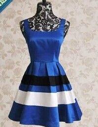 Vintage Shoulder-Straps Color Splicing Women's Dress