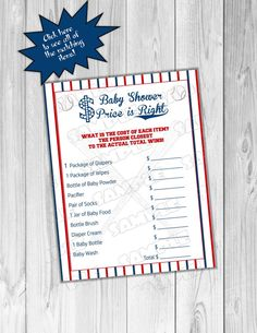 Baseball baby shower This package includes 1 PDF file 8.5x11 2 games per page Games appx. 5x7 formatted 2 on a page  PDF will not contain watermark  All you need to view & print this PDF is Adobe Reader  Download Adobe Reader for FREE here: http://get.adobe.com/reader/  INSTRUCTIONS: Just Download, and print! Or save the file onto a flash drive and bring it into Staples, Kinkos or other print shop where they will print for you!  MATCHING ITEMS: ABC game…