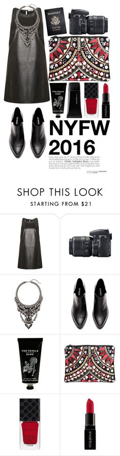 """nyfw 2016"" by javorkozima ❤ liked on Polyvore featuring Dex, Nikon, Passport, Cristabelle, TokyoMilk, Boohoo, Gucci, Smashbox and NYFW"