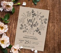 Rustic Save the Date Template, Instant Download, Printable Kraft Wedding Save the Date, Editable Text, PDF Template, Digital File #018