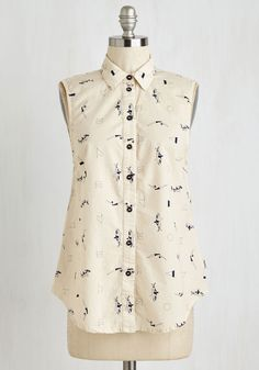 Gimme High Dive Top - Mid-length, Woven, Cream, Novelty Print, Print, Casual, Nautical, Sleeveless, Summer, Better, Collared, Buttons