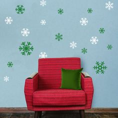 Green and White Snowflake Decal Sticker Variety Pack - Winter Holiday Decor