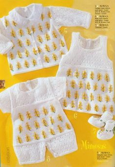 "Booties, Cardigan, Dungarees and Dress Set ""Mimosa"" free knit pattern"