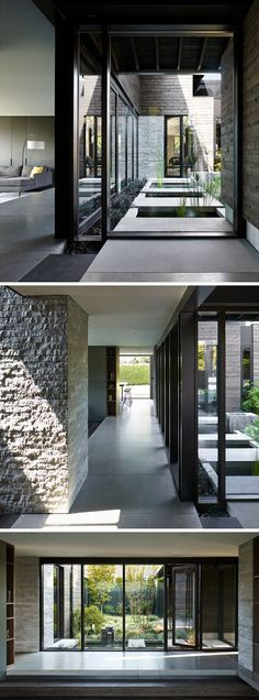 Stepping inside this renovated house, what was once a wall with three slim vertical windows, is now Patio Interior, Interior Windows, Modern Interior, Architecture Design, California Architecture, Exterior Doors With Glass, Courtyard House, Modern House Design, Contemporary Design