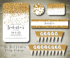 ALL THAT GLITTERS - personalised invitation printable party package. $26.00, via Etsy.