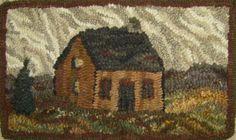 pumpkin House rug hooked by Loretta Moore