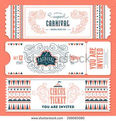 Find Vintage Circus Banner Collection Ticket Invitation stock images in HD and millions of other royalty-free stock photos, illustrations and vectors in the Shutterstock collection. Circus Vintage, Circus Illustration, Carnival Tickets, Ticket Design, Banner, Event Branding, Ticket Invitation, Royal Ballet, Stock Foto