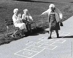 Growing Old Is Inevitable, Growing Up Is Optional - Funpicc (Hopscotch - I fell over, landed on Margie, killed my tooth and gave her a scar in her forehead. I Smile, Make Me Smile, Never Too Old, Old Age, Hopscotch, Young At Heart, Jolie Photo, Aging Gracefully, Inevitable