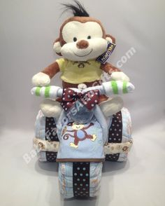 Little Monkey Tricycle Diaper Cake for Boy