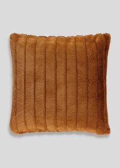 Faux Fur Cushion (46cm x 46cm) – Orange – Matalan