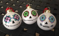 Day of the Dead style glass ball ornament