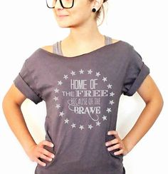 Land Of the Free Because of the Brave + free shipping Off Shoulder Shirt