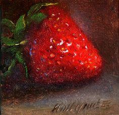 Strawberry, Classical Still life Fruit 4 x4 Original Oil panel HALL GROAT II, painting by artist Hall Groat II