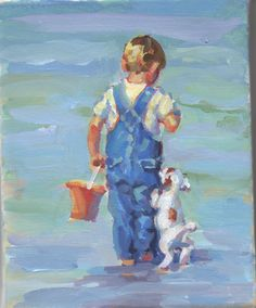 Canvas gicee of original acrylic painting of boy with a jack russell,   wall decor, bedroom decor, seascape  Every dog needs a boy