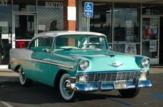 1956 Chevrolet Bel Air Sport Coupe - White  Pinecrest green
