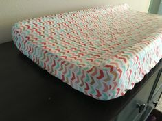 Coral mint green gold baby changing pad cover, modern chevron, arrow pattern, tribal baby, baby girl changing pad cover