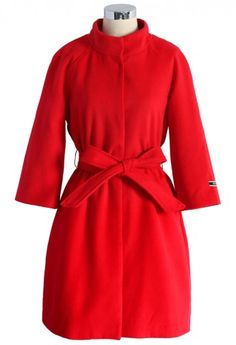red mid-sleeve wool blended coat