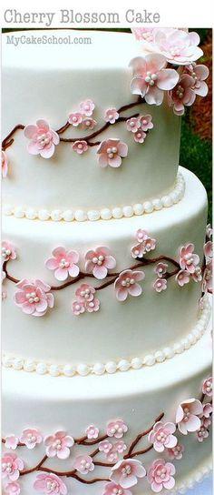 Elegant Cherry Blossom Cake Tutorial! Member Cake Decorating Video Tutorial by MyCakeSchool.com - Online Cake Decorating Tutorials, Videos, & Recipes!