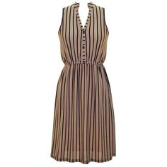 Taupe & Black Vertical Stripe Empire Waist Sleeveless Dress ($15) ❤ liked on Polyvore featuring dresses, taupe, button dress, striped dresses, day to night dresses, faux-leather dress and vertical stripe dress