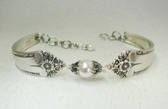 Spoon Bracelet, Starlight 1950, White Crystal Pearls, Sterling Silver Bali Bead Caps