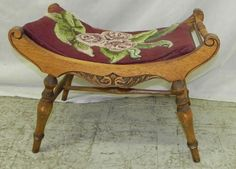 Carved Oak Needlepoint Vanity Bench. 24 Wide.