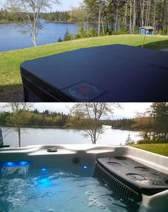 Take your hot tub cover off and enjoy a spa view by the lake