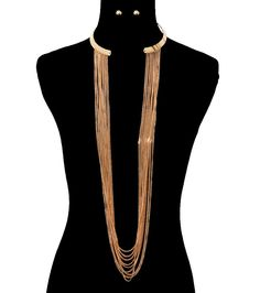 NEWLY LISTED!♥♥♥Gold Metal CUFF DRAPE LAYERED Statement Necklace & Earrings Set #CelebrityInspired #CUFFDRAPENecklaceEarringsSET