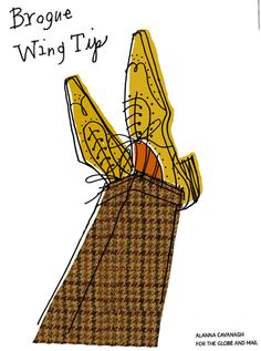 Harris tweed and brogues created for Globe + Mail Oct 13th 2012 copyright Alanna Cavanagh 2012 #Illustration