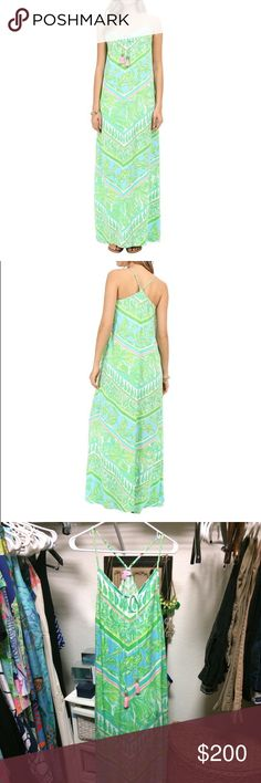 Philomena Maxi PRODUCT INFORMATION: Resort chic at its finest. Sleeveless maxi dress in woven textured rayon. Easy fit. Engineered print. Adjustable spaghetti straps. V-neckline and Y-back. Tie at center neckline features stylish tassels. Unlined. Slip-on. 100% rayon. Dry clean. Lilly Pulitzer Dresses Maxi