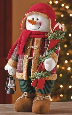 US $24.99 FREE SHIPPING Christmas Woodland Snowman Ready to Ski Decoration Indoor Mantel Home Accents