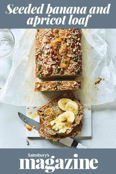 Looking for a healthier bake? Our seeded banana and apricot loaf recipe is wholesome as well as delicious. This low-fat option is great on its own or with sliced banana and a drizzle of maple syrup. Fabulous toasted, too! Healthy Bread Recipes, Loaf Recipes, Banana Recipes, Cake Recipes, Cooking Recipes, Sweets Recipes, Delicious Recipes, How To Make Breakfast, Breakfast For Kids