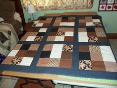 Sudoku inspired Brown, Black and Creams Quilt- fabric picked by my customer quilt made by me
