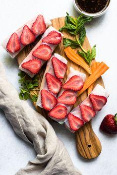 Teriyaki Tofu Spring Rolls with Strawberries