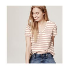 LOFT Striped Vintage Broken In Tee ($27) ❤ liked on Polyvore featuring tops, t-shirts, lilac shaddow, v neck tee, cotton v neck t shirts, short sleeve v neck tee, vintage tees and striped v neck t shirt