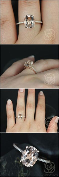 Blake 10x8mm 14kt Rose Gold Oval Morganite and Diamonds Cathedral Engagement Ring / www.deerpearlflow...