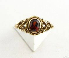 Genuine Garnet Ring  10k Yellow Gold Floral by WilsonBrothers
