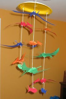 Pteranodon Dinosaur Mobile Craft. You will need: Pteranodon template (see below) construction paper or card stock, scissors, a paper plate, and string. 1 of 2