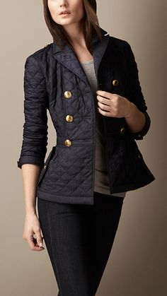 Quilted Peplum Jacket in Military Navy by Burberry