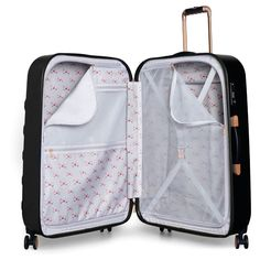 Ted Baker Beau Spinner Suitcase in Black. Fabulously feminine, this exclusive spinner luggage from Ted Baker's Beau Collection would make a stunning travel gift for the frequent flyer. 4 Wheel Suitcase, Large Suitcase, Carry On Suitcase, Tough As Nails, Bow Pattern, Luggage Cover, Packing Light, Ted Baker, Voyage