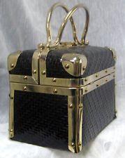 Borsa Bella Italy Vintage Handbag Train Case Purse Black/GOLD HW
